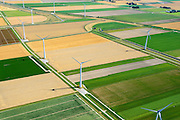 Nederland, Groningen, Gemeente Eemsmond, 05-08-2014;  Emmapolder met windmolenpark. <br /> <br /> Emmapolder, North Netherland, wind farm.<br /> luchtfoto (toeslag op standard tarieven);<br /> aerial photo (additional fee required);<br /> copyright foto/photo Siebe Swart
