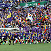 ORLANDO, FL - JUNE 18:  Teams enter the pitch wearing Orlando United shirts during an MLS soccer match between the San Jose Earthquakes and the Orlando City SC at Camping World Stadium on June 18, 2016 in Orlando, Florida. (Photo by Alex Menendez/Getty Images) *** Local Caption ***