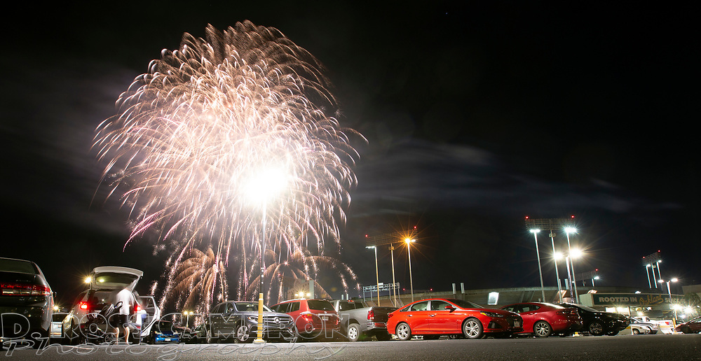 Fireworks explode over the Oakland-Alameda County Coliseum following an Oakland Athletics baseball game, Saturday, July 27, 2019, in Oakland, Calif. (Photo by D. Ross Cameron)