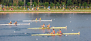 """Shunyi; CHINA.; Women's pair Repechage, GBR W2-, Bow,  Louisa REEVE and Olivia WHITLAM, move away from the start -  [coming second to qualify for Sat Final]. at the 2008 Olympic Regatta; Shunyi Rowing Course. Tuesday 12.08.2008; """"Mandatory Credit: Peter SPURRIER, Intersport Images"""""""