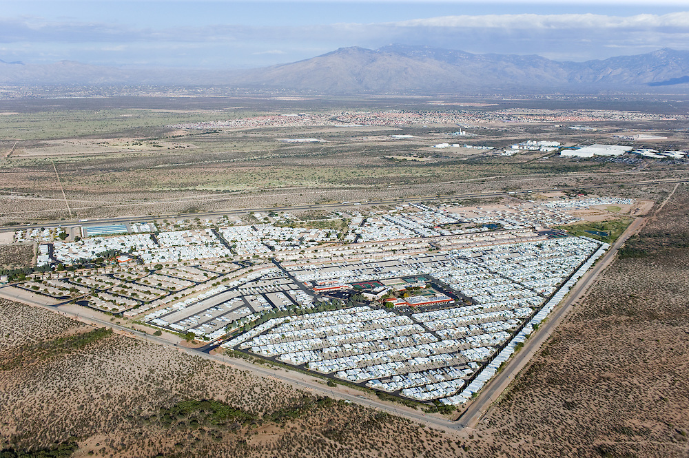 Trails West, located 10 miles south of downtown Tuscon, is a 55-and-over mobile-home community with planned activities and a clubhouse for residents.  Built by an outside developer responsible for many similar communities across the country, it is designed to be an insular refuge for retirees.