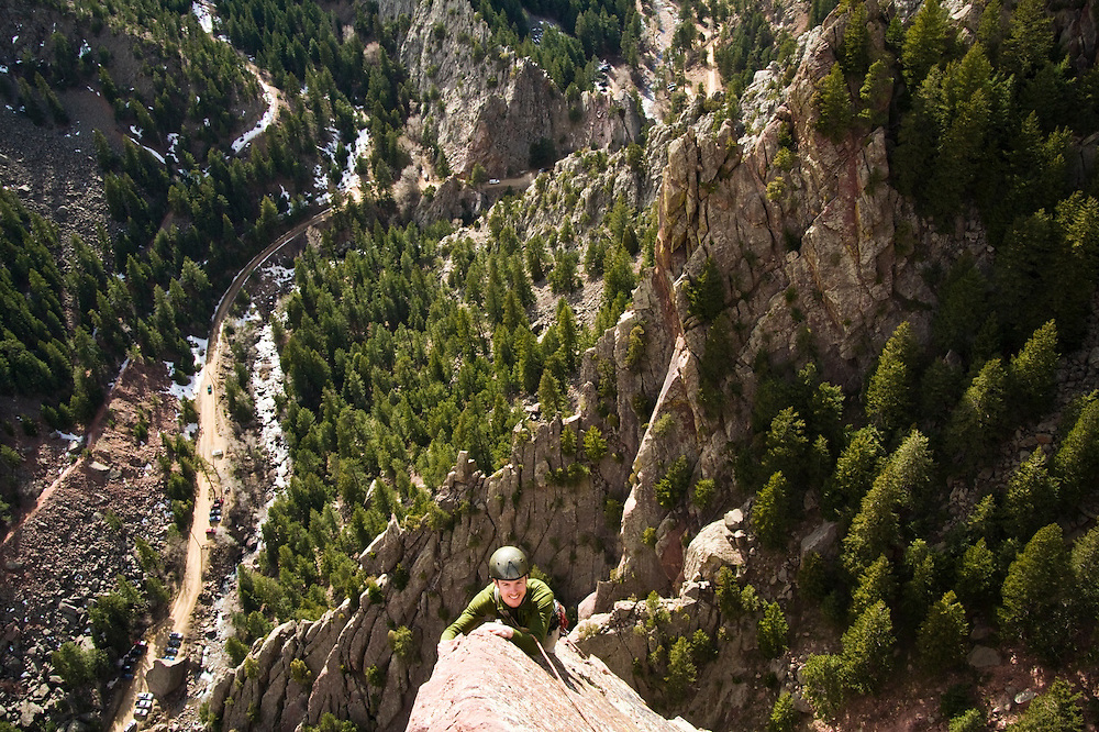 Nathan Kurz climbs the final pitch of Icarus (5.6) and Yellow Spur (5.9)on Redgarden Wall, Eldorado State Park, Colorado.