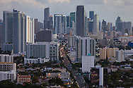 Aerial view of downtown Miami looking south along Biscayne Boulevard.