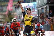 Arrival sprint Enrico Battaglin (ITA - Team LottoNL - Jumbo) winner during the 101th Tour of Italy, Giro d'Italia 2018, stage 5, Agrigento - Santa Ninfa 152 km on May 9, 2018 in Italy - Photo Luca Bettini / BettiniPhoto / ProSportsImages / DPPI