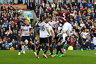 Ashley Barnes of Burnley gets his head to the ball, but his effort goes wide. . Premier League match, Burnley v Tottenham Hotspur at Turf Moor in Burnley , Lancs on Saturday 1st April 2017.<br /> pic by Chris Stading, Andrew Orchard sports photography.