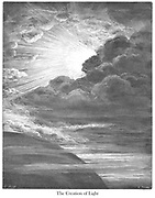 The Creation of Light Genesis 1:3 From the book 'Bible Gallery' Illustrated by Gustave Dore with Memoir of Doré and Descriptive Letter-press by Talbot W. Chambers D.D. Published by Cassell & Company Limited in London and simultaneously by Mame in Tours, France in 1866