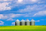 grain bins and sky<br /> Altamont<br /> Manitoba<br /> Canada