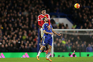 Chris Smalling of Manchester United  heads the ball over Diego Costa of Chelsea. Barclays Premier league match, Chelsea v Manchester Utd at Stamford Bridge in London on Sunday 7th February 2016.<br /> pic by John Patrick Fletcher, Andrew Orchard sports photography.