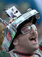 Race fan Tony Wright, of Egg Harbor Township, NJ, cheers for his favorite driver, Dale Earnhardt, Jr., before a NASCAR Sprint Cup Series auto race at the Daytona International Speedway in Daytona Beach, Fla., Saturday, July 7, 2012.(AP Photo/Phelan M. Ebenhack)