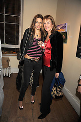 Left to right, ZARA SIMON and her mother KATE SIMON at an exhibition of Sarah-Jane Boler's paintings entitled 'Life on The Farm' held at The Troubadour, 265 Old Brompton Road, London on 27th November 2008.