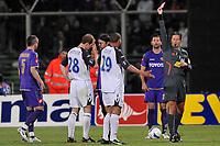 "Referee Franck De Bleeckere shows red card to Daniel Cousin (Rangers)<br /> Firenze 1/5/2008 Stadio ""Artemio Franchi"" <br /> Uefa Cup 2007/2008 Semifinals - Semifinale second Leg<br /> Fiorentina Rangers Glasgow (0-0) (2-4 a.p.)<br /> Foto Andrea Staccioli Insidefoto"
