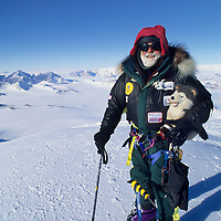 """ANTARCTICA, Norman Vaughan,88, & """"Zippy"""" on summit of Mt. Vaughan after first ascent."""