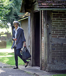 © Licensed to London News Pictures. 20/08/2017.. British prime minister THERESA MAY and her husband PHILIP attend church . Photo credit: Ben Cawthra/LNP