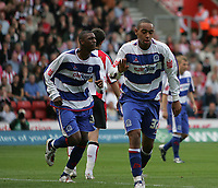 Photo: Lee Earle.<br /> Southampton v Queens Park Rangers. Coca Cola Championship. 30/09/2006. QPR's Dexter Blackstock (R) celebrates  scoring their first.