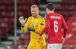 Kasper Schmeichel  og Andreas Christensen (Danmark) før kampen i Nations League mellem Danmark og Island den 15. november 2020 i Parken, København (Foto: Claus Birch).