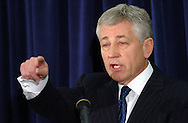 3/12/07 Omaha NE Nebraska Senator Chuck Hagel answers questions about his announcement that he is waiting to decide about running for President at the University of Nebraska  at Omaha. (photo by Chris Machian/ Prairie Pixel Group)