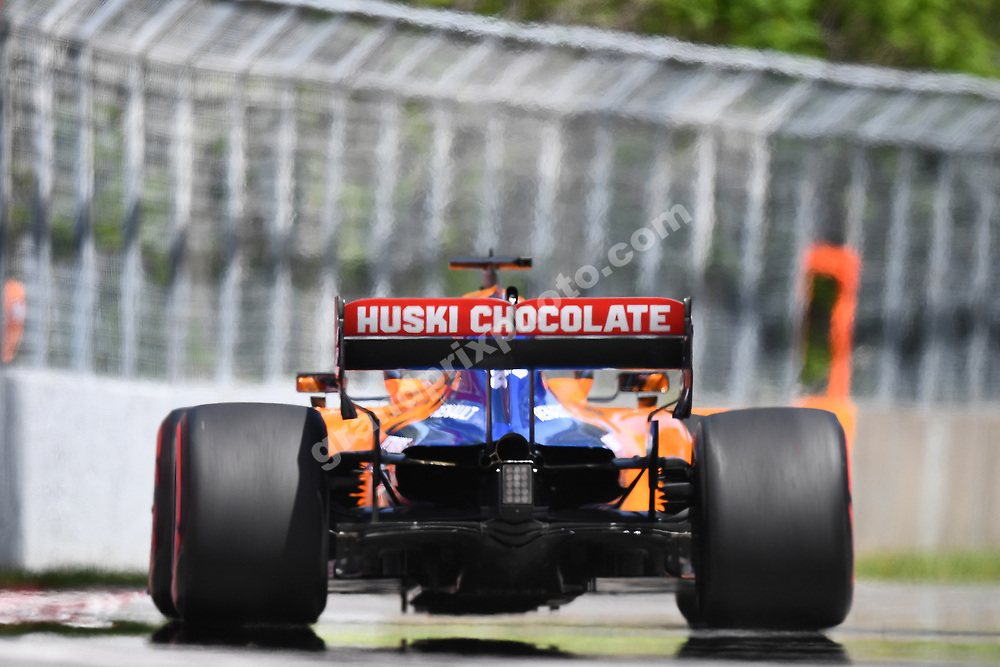 Carlos Sainz Jr (McLaren-Renault) seen from behind during practice for the 2019 Canadian Grand Prix in Montreal. Photo: Grand Prix Photo