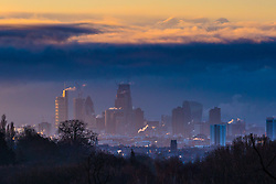 """Steam rises from buildings as the first rays of the sun greet London. The threatened snow from """"The Beast From The East"""" weather system doesn't materialise overnight in London leaving a crisp, clear morning, seen from Hampstead Heath in North London. London, February 27 2018."""