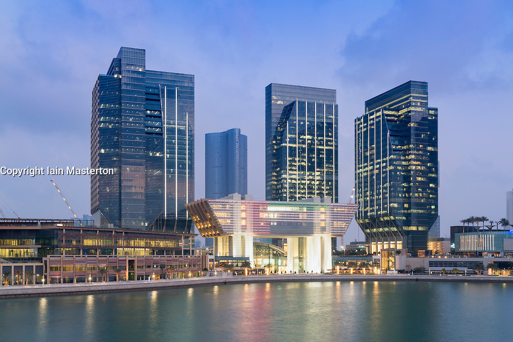 Evening view of new financial and business district called Abu Dhabi Global Market square (ABGM) on Al Maryah Island in Abu Dhabi United Arab Emirates