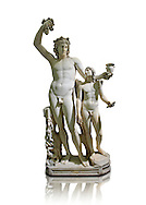 2nd century AD Roman marble sculptured of Dionysus and Eros, inv 6307, Naples Museum of Archaeology, Italy ..<br /> <br /> If you prefer to buy from our ALAMY STOCK LIBRARY page at https://www.alamy.com/portfolio/paul-williams-funkystock/greco-roman-sculptures.html . Type -    Naples    - into LOWER SEARCH WITHIN GALLERY box - Refine search by adding a subject, place, background colour, etc.<br /> <br /> Visit our ROMAN WORLD PHOTO COLLECTIONS for more photos to download or buy as wall art prints https://funkystock.photoshelter.com/gallery-collection/The-Romans-Art-Artefacts-Antiquities-Historic-Sites-Pictures-Images/C0000r2uLJJo9_s0