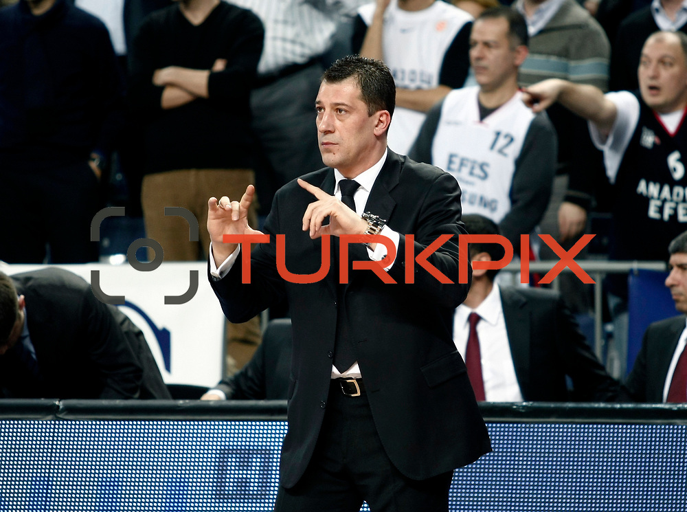 Anadolu Efes's coach Ufuk Sarica during their Turkish Airlines Euroleague Basketball Top 16 Group E Game 4 match Anadolu Efes between Olympiacos at Sinan Erdem Arena in Istanbul, Turkey, Wednesday, February 08, 2012. Photo by TURKPIX