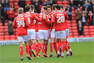 Alfie Mawson Goal Celebration during the Sky Bet League 1 match between Barnsley and Rochdale at Oakwell, Barnsley, England on 23 January 2016. Photo by Daniel Youngs.