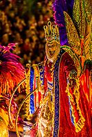 Performers on floats in the Carnaval parade of GRES Estacao Primeira de Mangueira samba school in the Sambadrome, Rio de Janeiro, Brazil.