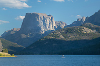 Paddle Boarder on Green River Lake Wind River Range Wyoming