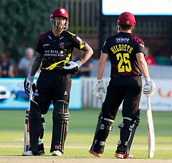 Somerset's Peter Trego with team-mate James Hildreth<br /> <br /> Photographer Simon King/Replay Images<br /> <br /> Vitality Blast T20 - Round 1 - Somerset v Gloucestershire - Friday 6th July 2018 - Cooper Associates County Ground - Taunton<br /> <br /> World Copyright © Replay Images . All rights reserved. info@replayimages.co.uk - http://replayimages.co.uk