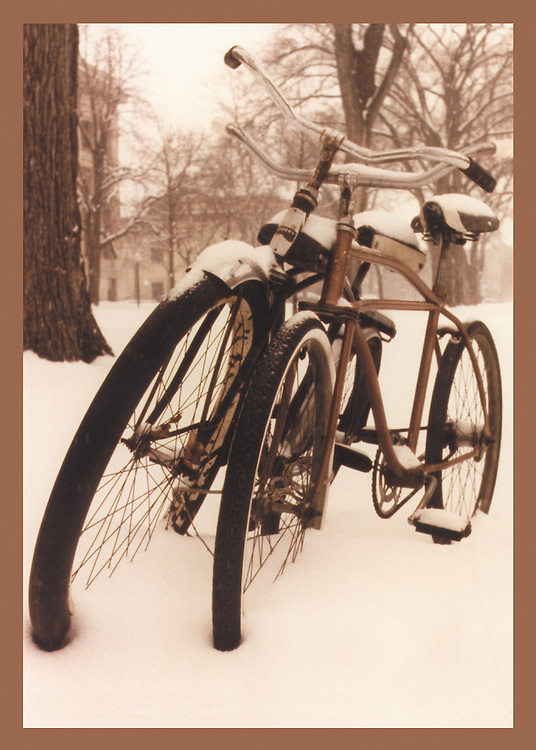 """Bicycling Postcard - Snow Bikes. Suitable for use on a 4.25"""" x 6"""" printed postcard."""