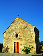 A small medieval chapel in the Burgundy village Salmaise at sunset