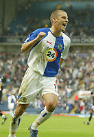 Photo: Aidan Ellis.<br /> Blackburn Rovers v Wigan Athletic. The Barclays Premiership. 01/10/2006.<br /> Blackburn's David Bentley celebrates the equaliser