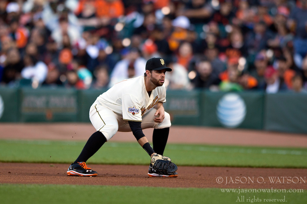 SAN FRANCISCO, CA - APRIL 18:  Brandon Belt #9 of the San Francisco Giants stands on the field during the first inning against the Arizona Diamondbacks at AT&T Park on April 18, 2015 in San Francisco, California.  The San Francisco Giants defeated the Arizona Diamondbacks 4-1. (Photo by Jason O. Watson/Getty Images) *** Local Caption *** Brandon Belt