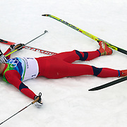 Winter Olympics, Vancouver, 2010.Petter Northug, Norway, Winning the Gold Medal in the Cross Country Skiing, Men's 50 KM Mass start at Whistler Olympic Park, Whistler, during the Vancouver Winter Olympics. 28th February 2010. Photo Tim Clayton