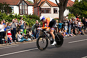 London, UK. Wednesday 1st August 2012. The Men's Individual Time Trial cycling event passes through Twickenham on route to find the fastest male cyclist. Rider Lars Boom of the Netherlands.