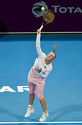 DOHA, Feb. 13, 2019  Kiki Bertens of the Netherlands serves during the women's singles first round match between Kiki Bertens of the Netherlands and Camila Giorgi of Italy at the 2019 WTA Qatar Open in Doha, Qatar, on Feb. 12, 2019. Kiki Bertens won 2-1. (Credit Image: © Nikku/Xinhua via ZUMA Wire)
