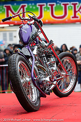 Charlie Swordson's Best of Show 1970's Harley-Davidson Shovelhead chopper ready to get its award at the Twin Club's annual Custom Bike Show in Norrtälje, Sweden. Saturday, June 1, 2019. Photography ©2019 Michael Lichter.