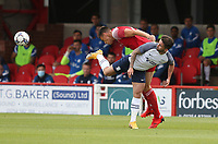Preston North End's Sean Maguire and Accrington Stanley's Ross Sykes<br /> <br /> Photographer Stephen White/CameraSport<br /> <br /> Football Pre-Season Friendly - Accrington Stanley v Preston North End - Saturday 24th July 2021 - Crown Ground - Accrington<br /> <br /> World Copyright © 2021 CameraSport. All rights reserved. 43 Linden Ave. Countesthorpe. Leicester. England. LE8 5PG - Tel: +44 (0) 116 277 4147 - admin@camerasport.com - www.camerasport.com