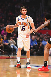 February 13, 2019 - Los Angeles, CA, U.S. - LOS ANGELES, CA - FEBRUARY 13: Phoenix Suns Guard Tyler Johnson (16) sets up the offense during a NBA game between the Phoenix Suns and the Los Angeles Clippers on February 13, 2019 at STAPLES Center in Los Angeles, CA. (Photo by Brian Rothmuller/Icon Sportswire) (Credit Image: © Brian Rothmuller/Icon SMI via ZUMA Press)