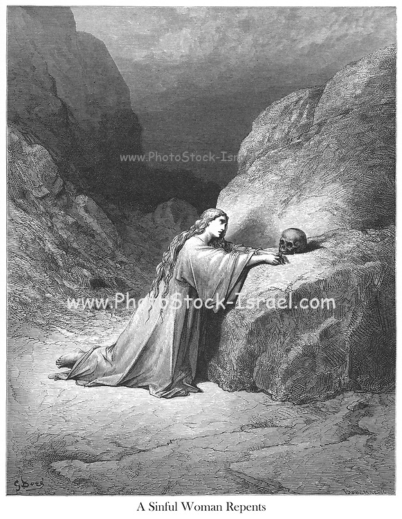 Mary Magdalene Repentant [Luke 8:2] From the book 'Bible Gallery' Illustrated by Gustave Dore with Memoir of Dore and Descriptive Letter-press by Talbot W. Chambers D.D. Published by Cassell & Company Limited in London and simultaneously by Mame in Tours, France in 1866