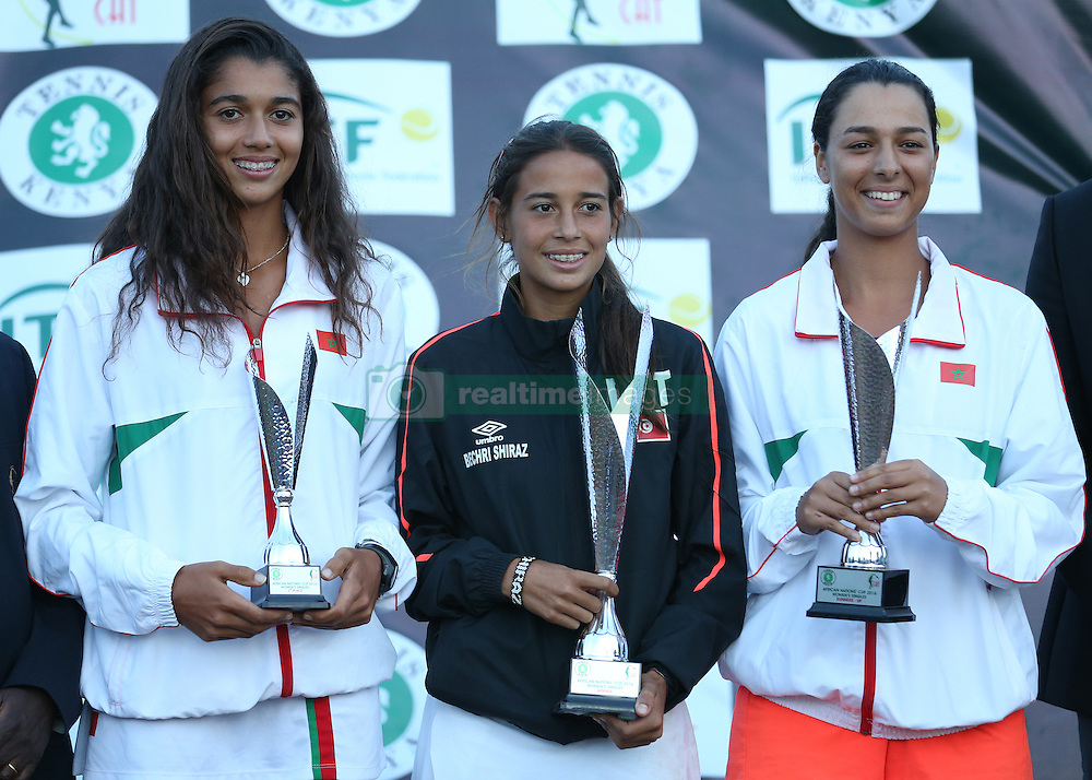 Chiraz Bechri (C) from Tunisia celebrates wining the womens singles with Diae El Jardi (L) of Morocco 3rd position, and her counterpart Rita Atik (R) securing 2nd position during their 14th African Nations Cup (CAN) 2016 on the Final day at Nairobi Club on November 13, 2016. Photo/Fredrick Onyango/www.pic-centre.com (KEN)