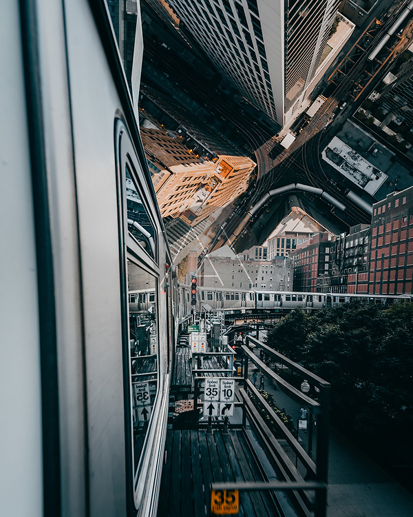 Aerial view of downtown Chicago in droneception style, Chicago, USA.