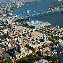 Aerial view of Old City AND Benjamin FRANKLIN BRIDGE with penns landing and Delaware River and Route 95