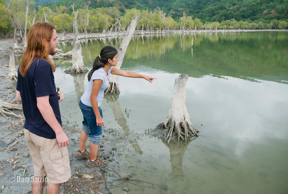 American students Scott Heacox and Marianna Tucci at Maubara Lake in the Liquica district of Timor-Leste (East Timor). They are participating in an ongoing survey of Timorese reptiles and amphibians.