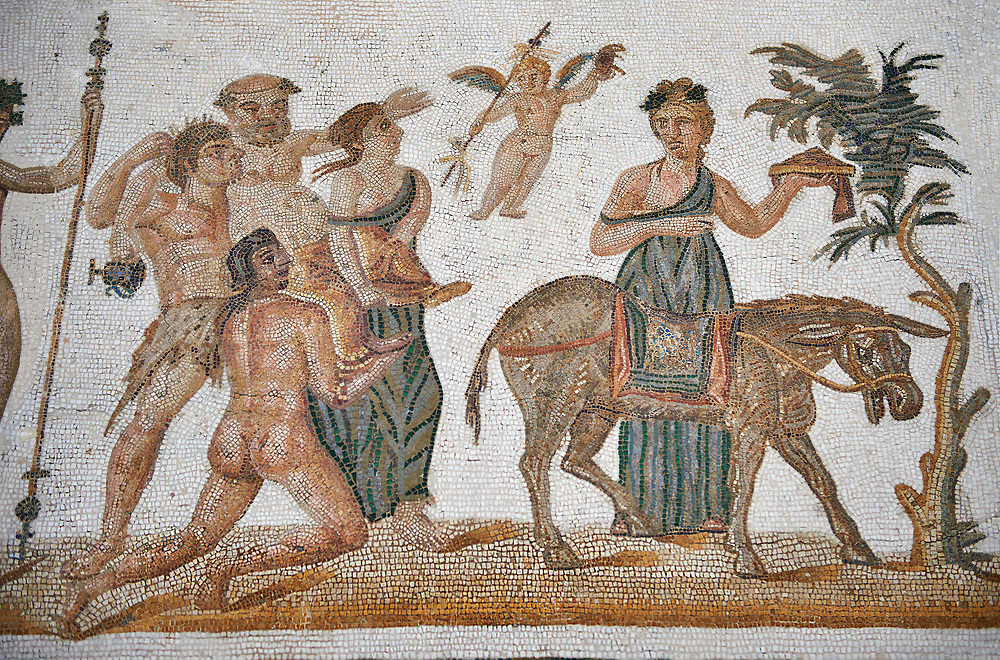 Picture of a Roman mosaics design depicting scenes from the Life of Dionysus, from the ancient Roman city of Thysdrus, House of Silenus. Late 2nd to early 3rd century AD. El Djem Archaeological Museum, El Djem, Tunisia.<br /> <br /> In the central panel of this Roman mosaic the  teacher of Dionysus, Silenus, is being carried towards a donkey. .<br /> <br /> If you prefer to buy from our ALAMY PHOTO LIBRARY  Collection visit : https://www.alamy.com/portfolio/paul-williams-funkystock/roman-mosaic.html  . Type -   El Djem   - into the LOWER SEARCH WITHIN GALLERY box. Refine search by adding background colour, place, museum etc<br /> <br /> Visit our ROMAN MOSAIC PHOTO COLLECTIONS for more photos to download  as wall art prints https://funkystock.photoshelter.com/gallery-collection/Roman-Mosaics-Art-Pictures-Images/C0000LcfNel7FpLI
