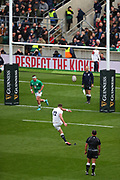 Owen Farrell of England kicks a conversion during the Six Nations international rugby union match between England and Ireland at Twickenham stadium, Sunday, Feb. 23, 2020, in London, United Kingdom.  England won the match 24-12. (Mitchell Gunn/ESPA-Images-Image of Sport)
