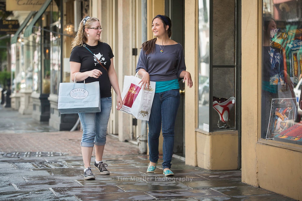 Ashley Fries and Amanda Villadsen shop along Royal Street in the French Quarter in New Orleans, La.