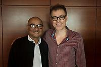 """19 JUN 2012, BERLIN/GERMANY:<br /> Maung Thura """"Zarganar"""" (L),  Comedian, Komoediant, Film- und Fernsehschauspieler, Filmregisseur burmesischer Sprache und  Kritiker des Militaerregimes in Burma/Myanmar, und Michael Mittermeier (R) Komiker, Autor und Saenger, waehrend einem Pressegespraech, Hotel Melia<br /> IMAGE: 20120619-01-049<br /> KEYWORDS Regimekritiker"""