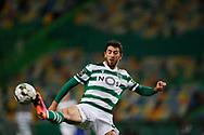 Paulinho tries to intercept the ball during the Liga NOS match between Sporting Lisbon and Belenenses SAD at Estadio Jose Alvalade, Lisbon, Portugal on 21 April 2021.