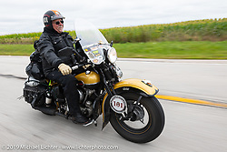 Kansan Terry Richardson riding his 1946 Harley-Davidson FL Knucklehead in the